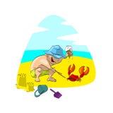 Junge auf dem Strand, spielend mit einer Krabbe Lizenzfreies Stockbild