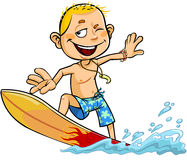 Junge auf dem Surfbrett Lizenzfreies Stockbild