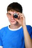 Junge auf einem weißen Hintergrund Stockfoto