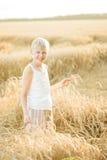 Junge auf einem Weizengebiet Stockbilder