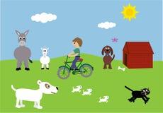 Junge auf Fahrrad u. netter Tier-vektorabbildung Stockfotografie
