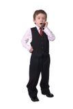 Junge auf Handy Stockfoto