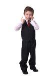 Junge auf Handy Stockfotos