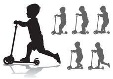 Junge auf Roller stock abbildung