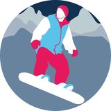 Junge auf Snowboard gegen den Hintergrund der Berge vector Illustration lizenzfreie abbildung