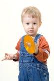 Junge auf weißem Hintergrund Stockfotografie
