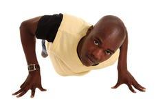 Junge befestigten afrikanischen Mann Stockfoto