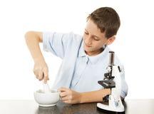 Junge benutzt Mörtel und Stampfe lizenzfreie stockbilder