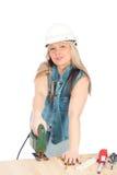 Junge blonde Frau arbeitet Lizenzfreie Stockbilder