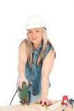 Junge blonde Frau arbeitet Stockfoto
