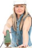 Junge blonde Frau arbeitet Lizenzfreies Stockbild