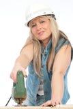 Junge blonde Frau arbeitet Lizenzfreie Stockfotografie