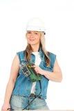 Junge blonde Frau arbeitet Lizenzfreies Stockfoto