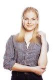 Junge blonde Frau auf weißer backgroung Geste lächelnd, lokalisiert Stockfoto