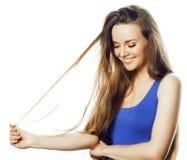 Junge blonde Frau auf weißes backgroung lächelnden Gestendaumen oben, Lizenzfreies Stockbild