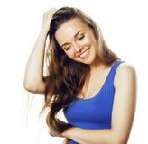 Junge blonde Frau auf weißes backgroung lächelnden Gestendaumen oben, Stockfoto