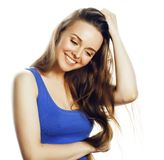 Junge blonde Frau auf weißes backgroung lächelnden Gestendaumen oben, Stockfotografie