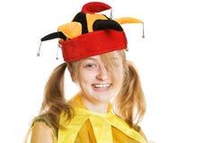 Junge blonde Frau in der Schutzkappe des Dummkopfs Stockbilder