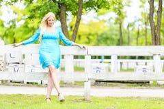 Junge blonde Frau durch den Zaun Lizenzfreie Stockbilder