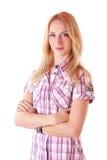 Junge blonde Frau in einem klassischen rosafarbenen Hemd Lizenzfreies Stockfoto