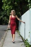Junge blonde Frau in einem roten Kleid, das am Bretterzaun sich lehnt Stockbild