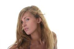 Junge blonde Frau im blauen Bikini Stockfotos