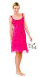 Junge blonde Frau im rosafarbenen Kleid Lizenzfreies Stockbild