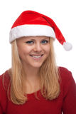 Junge blonde Frau im Sankt-Hut Stockfotografie
