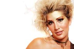 Junge blonde Frau mit Art und Weiseverfassung Lizenzfreies Stockfoto