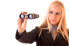 Junge blonde Frau mit binokularem Stockfotografie