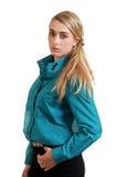 Junge blonde Frau mit blauem Hemd Lizenzfreie Stockfotografie