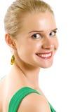 Junge blonde Frau mit blauen Augen schließen oben Lizenzfreie Stockfotografie