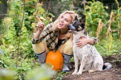 Junge blonde Frau mit dem Hund, der Kürbise, Herbstgarten erntet Lizenzfreie Stockfotos