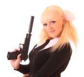 Junge blonde Frau mit Gewehr Stockbilder
