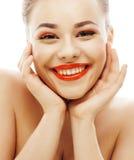 Junge blonde Frau mit hellem bilden das Lächeln Lizenzfreie Stockfotografie