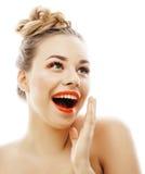 Junge blonde Frau mit hellem bilden das Lächeln Stockfoto