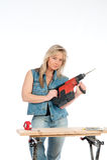 Junge blonde Frauenarbeiten Lizenzfreies Stockbild