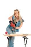 Junge blonde Frauenarbeiten Stockfoto