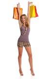 Junge blonde Frauenholding-Einkaufenbeutel Lizenzfreies Stockfoto
