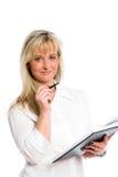Junge blonde Geschäftsfrau ist Stockbild
