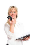 Junge blonde Geschäftsfrau ist Stockfoto