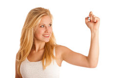Junge blonde Geschäftsfrau mit blauen Augen, schreibt auf ein Glas ta Lizenzfreie Stockfotos