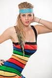 Junge blonde kaukasische amerikanische Modefrau Stockfoto