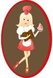 Junge Blondine, die Buch mit den Empfängen und kleinem Kuchen halten Lizenzfreie Stockbilder