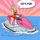 Junge Blondine, die Spaß auf Jet Ski haben Sport vereinigt für Konkurrenzen in der Schwimmen und im Tauchen Pop-Arten-Illustratio Stockfotos