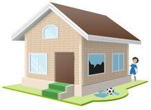 Junge brach Fenster Eigentum insurance stock abbildung