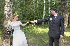 Junge Braut und Bräutigam Stockbild