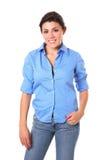Junge Brunette-Frau stockfoto