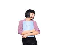 Junge Brunettefrau mit Einkaufstasche Stockbilder