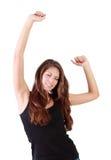 Junge Brunettefrau mit geschlossenen Augentänzen Lizenzfreies Stockbild